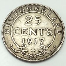 1917 Canada Newfoundland 25 Cents Quarter Circulated Canadian Coin D598