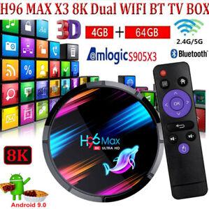 H96 MAX X3 4+64G 8K Android 9.0 Dual WIFI BT4.0 TV BOX HD Media Player USB3.0 UK