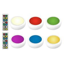 Brilliant Evolution Wireless Color Changing Led Puck Light 6 Pack With 2 Remo.