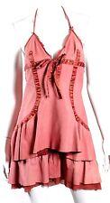 ROBERTO CAVALLI Coral Leather & Silk Charm Detail Tiered Halter Dress S