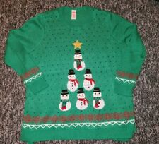 Holiday Time Green Christmas Sweater Snowman Tree Plus Sz. 3X Sequins Metallic