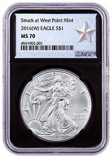 2016-(W) American Silver Eagle NGC MS70 Black Core West Point Gold Star SKU46857