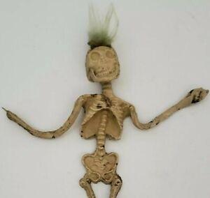 "Vintage Rubber Jiggler Skeleton Mohawk Hair Creature Creepy 8"" Figure  Damaged"