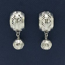 18k Solid White Gold Diamond Cut Clip With Dangling Ball Earrings