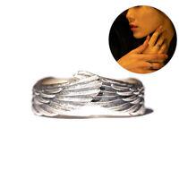 Vintage Silber Farbe Federflügel verstellbarer Fingerring für Männer Frauen SXUI