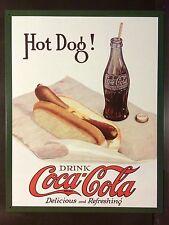 Hot Dog & Coca Cola In Bottles TIN SIGN Vtg metal Bottle Decor Coke
