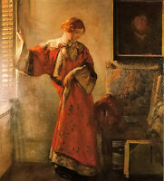 Oil painting joseph rodefer de camp the window blind young lady standing canvas