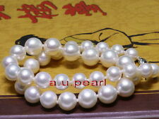 """big AAA++ 17""""13-16mm round REAL natural South sea WHITE pearl necklace 14K gold"""