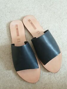 Leather sandals 41 Black SolSana
