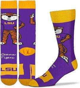 NEW! LSU Tigers NCAA Mascot Dress Socks Size Large Yellow Purple Geoux Tigers