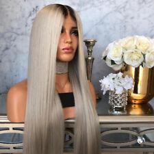 Women Fashion Human Hair Wig Body Wavy Full Wigs Natural Black Silver Grey AM8X