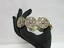 White House Black Market Medallion Gold Tone Rhinestone Pink Clear