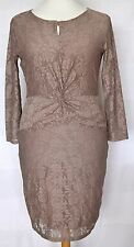 Reiss Nude Pink / Brown Lace 3/4 Sleeve Pencil Wiggle Dress - L 12