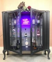 Made To Order Large Vintage Painted Light Up Cocktail Gin Glass Display Cabinet