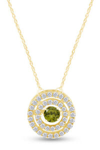 Simulated Peridot Circle Double Frame Pendant Necklace in 14k Gold Over
