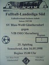 Programm 1997/98 Blau Weiß Günthersdorf - VfB IMO Merseburg