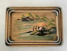 3 Retro Hand Painted Japanese Trays Wood with Metal Corner Handles Kitchenalia
