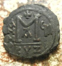 About VF+ JUSTIN II, with SOPHIA. Æ Follis Cyzicus mint. Dated RY 8 (572/3 AD).