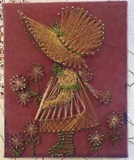 Vintage String Art - Sunbonnet Sue or Girl Finished Piece 8 x 10