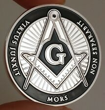 All Seeing Eye Freemason Coin - Black Enamel & Silver Plated with Acrylic Case