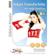 Bügelfolie: 8 T-Shirt Transferfolien für weiße Textilien A4 Inkjet