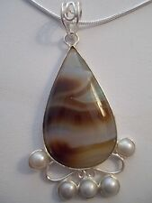 "Genuine Agate &  5 Pearls .925 Sterling Silver Pendant w/20"" Chain Necklace"