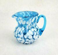 Vintage Marbled Hand Blown Art Glass Blue White Speckled Creamer Pitcher