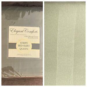 Elegant Comfort Queen Bedskirt Dust Ruffle Sage Green 1500 TC Cotton Box Pleat