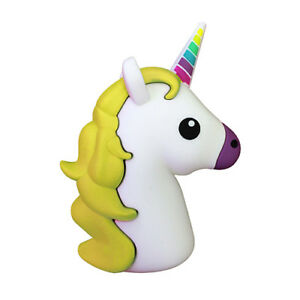 Yellow Unicorn Emoji Portable Charger Power Bank Android Tablet iPhone Gift Her