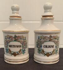 Antique Vintage China Porcelain Apothecary Jar Bottle Anchor Cologne Mouth Wash