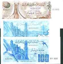 ALGERIA SET 3 DIFFERENT NOTES 100-100-200 DINARS 1981-82-83 . UNC GEM