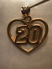 10k Yellow Gold #20 In Heart Sport Number Graduation Pendant Charm