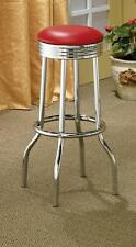 """Set of (2) Swivel Red and Chrome retro bar stools 29""""Height."""