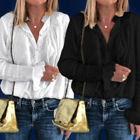 Plus Size Women Sheer Lace Victorian Shirt High Neck Ruffle Sleeve OL Blouse Top