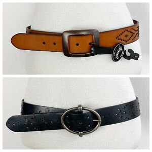 Fossil Womens size Large Belt 2pc Lot - Black Brown Leather Studded Boho Western