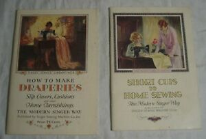Two SINGER SEWING MACHINE Booklets -- DRAPERIES & Sewing Short Cuts --1928, 1929