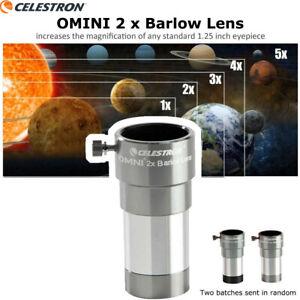 "Celestron Omni 1.25"" Double 2X Barlow Lens Fully Multi-Coated Less Reflect 93326"