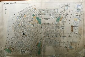 ORIGINAL 1952 MIAMI BEACH FL FONTAINEBLEAU & EDEN ROC HOTEL POLO PARK ATLAS MAP