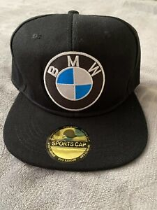 BMW CAR M SPORT MOTORCYCLE EMBROIDERED LOGO PATCH BLACK ADJ. SNAPBACK HAT NEW