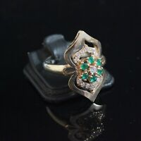 925 Sterling Silver Handmade Gemstone Turkish Emerald Ladies Ring Size 7-10