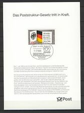 "BRD / Bund Sonderblatt "" Poststruktur-Gesetz "" m. Sonderstempel"