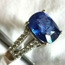 +Natural Sapphire Engagement 18k white gold Diamond Ring, estate vintage, ladies