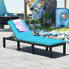 Adjustable Rattan Patio Chaise Lounge Chair Couch w/ Turquoise Cushion