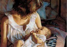 Reproduction of WOMAN WITH SMALL CHILD by Steve Hanks Modern Russian postcard