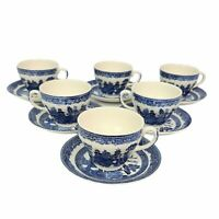 Johnson Bros Brothers England Blue Willow Oversized Tea Cup with Saucer SET (6)