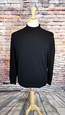 Saks Fifth Avenue ITALY Long Sleeve Black Virgin Wool Pullover Sweater Sz M EUC
