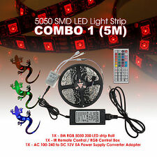 5M 10M 20M 5050SMD RGB LED Strip Light Kit 44 Key Remote 2 Outlet 5A Power Combo