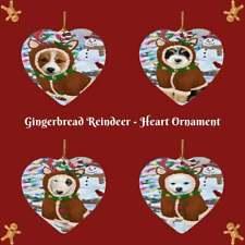 Gingerbread Reindeer Dog Cat Pet Photo Heart Christmas Tree Ornament Decor