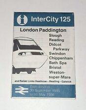 BR Train Timetable London to Bristol & Weston-Super-Mare 1985 InterCity 125 HST