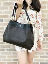 Coach Tote Shoulder Bag Lexy Signatured Coated Canvas Brown/Black